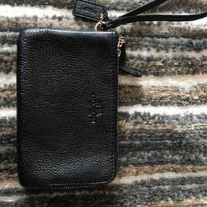 Black Coach wristlet wallet